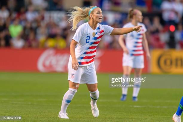 S Womens National Team midfielder Julie Ertz motions to a teammate in the 1st half during a Tournament of Nations international soccer match between...