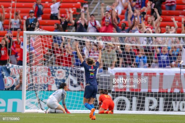 S Women's National Team midfielder Morgan Brian celebrates as the fans erupt after a goal by US Women's National Team forward Megan Rapinoe during...