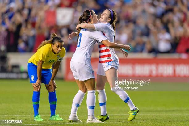 S Womens National Team midfielder Rose Lavelle celebrates her goal with US Womens National Team forward Alex Morgan in the first half during a...