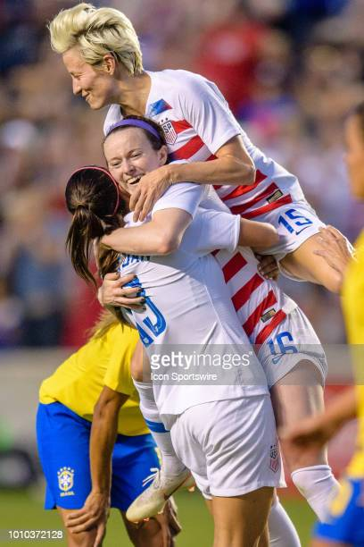 S Womens National Team midfielder Rose Lavelle celebrates her goal with US Womens National Team forward Alex Morgan and US Womens National Team...