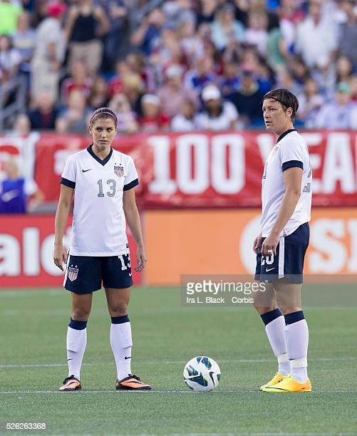 US Women's National Team player Abby Wambach and Alex Morgan line up for the 2nd half during the friendly match between the US Women's team and Korea...