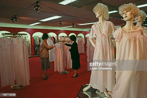 Women's nightwear at the Dickins Jones department store in Milton Keynes UK February 1982
