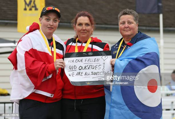 Women's Novice Recurve podium Melissa Smith Canada Silver Elizabeth Newman Canada Gold and Clare LanghamPhillips United Kingdom Bronze on Day Seven...