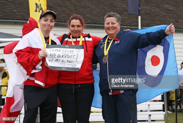 Women's Novice Recurve podium Melissa SmithCanada Elizabeth NewmanCanada and Clare LanghamPhillips United Kingdom on Day Seven at Archery during the...