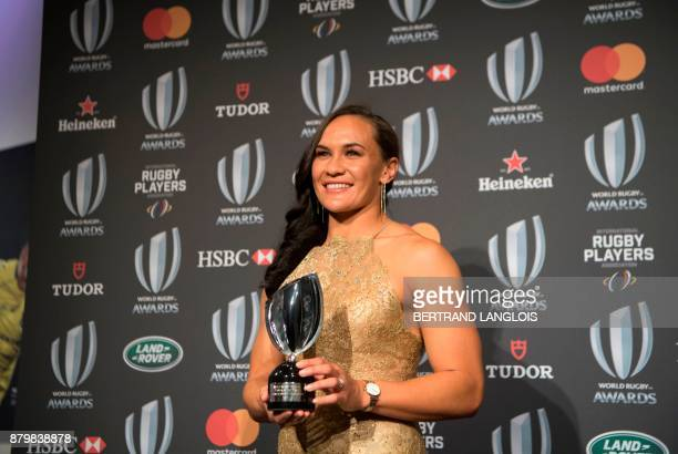 Women's Player of the Year Portia Woodman from New Zealand poses with her trophy during the World Rugby Awards on November 26 2017 in Monaco / AFP...