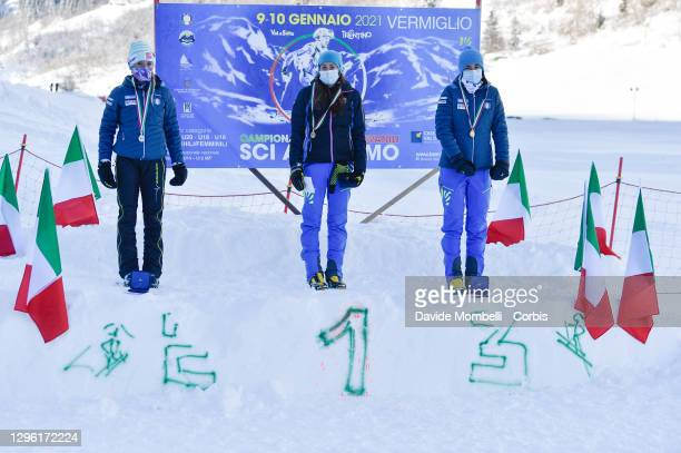 Women's podium Giorgia Felicetti, Giulia Murada, Valeria Pasquazzo after the Italian Youth Ski Mountaineering Championships on January 10, 2021 in...