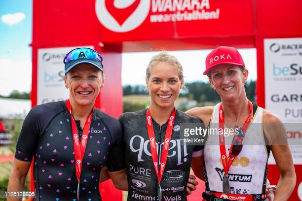 Women's podium Laura Siddall UK in 3rd Hannah Wells NZ in 1st and Meredith Kessler USA in 2nd after the at the 2019 Challenge Wanaka on February 16...