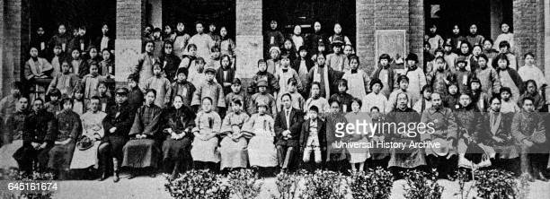 Women's political training institute founded at Wuhan by Soong Ching Ling, February 1927; trainees at opening day ceremony, with communist leader...
