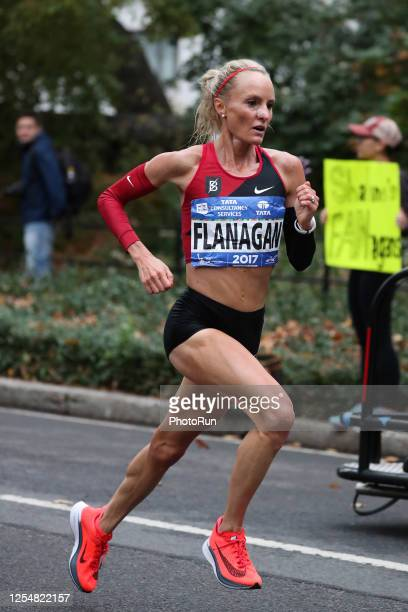 Women's professional division runner Shalane Flanagan runs during the 2017 TCS New York City Marathon November 05, 2017 in New York City.