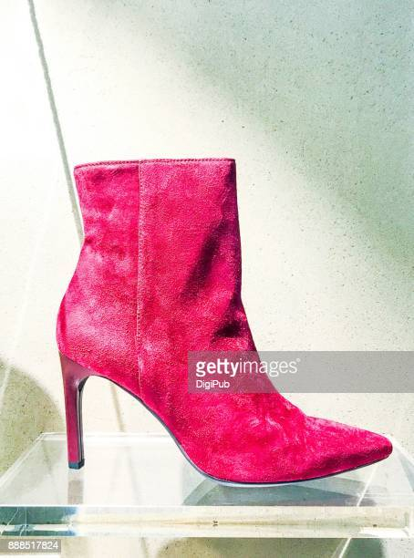 women's Red High-heel Suede Ankle Boots