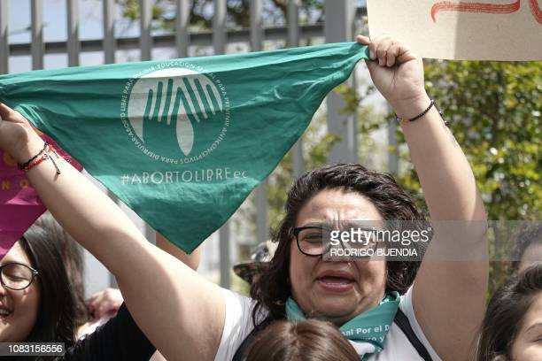A women's rights activist demonstrates in demand of the legalization of abortion if the pregnancy is a result of rape in front of the National...