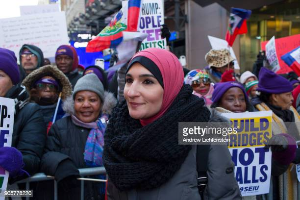 Women's rights activist Linda Sarsour attends a Martin Luther King Day rally to protest against President Trump's racist immigration policies on...