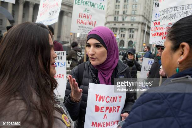 Women's rights activist Linda Sarsour attends a New Sanctuary rally in front of Federal Plaza to celebrate immigrant activist Ravi Ragbir's suspended...