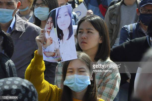 Women's rights activists gather over the murder of 27 year-old Ayzada Kanatbekova who allegedly kidnapped and found dead two days later, outside...