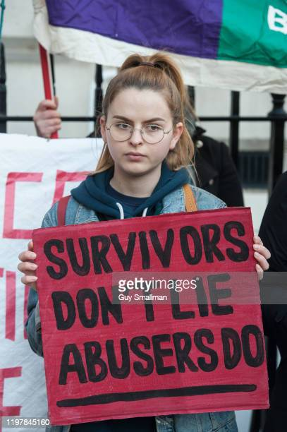 Women's rights activists gather to protest at the Cypriot Embassy on January 6 2020 in London England A 19yearold British woman was convicted of...