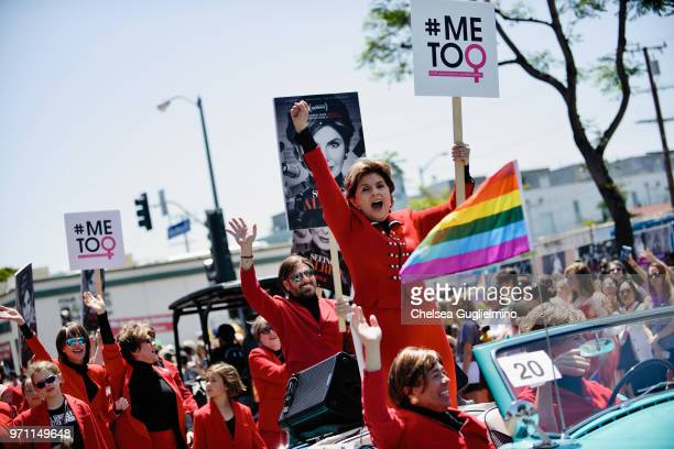 Women's rights attorney Gloria Allred seen at the LA Pride Parade 2018 on June 10, 2018 in West Hollywood, California.