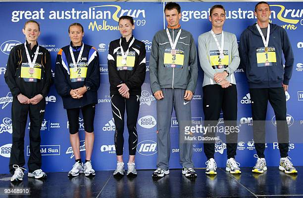Women's secion bronze medallist Lisa Flint silver medallist Benita Willis and gold medallist Nikki Chapple and Men's section bronzel medallist Scott...