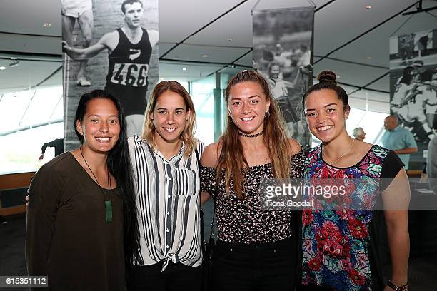 Womens Sevens Olympic silver medalists Tyla NathanWong Kayla McAlister Niall Willams and Theresa Fitzpatrick during the New Zealand Olympic Committee...