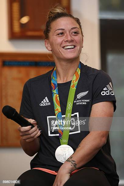 Women's Sevens player Niall Williams speaks to students during the New Zealand Rugby Women's Sevens Olympic Medallist Tour on August 31 2016 in...