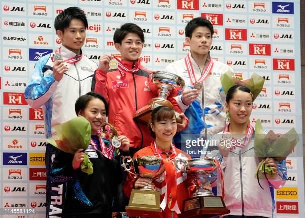 Women's silver medalist Mai Murakami gold medalist Asuka Teramoto and bronze medalist Hitomi Hatakeda Men's silver medalist Kazuma Kaya gold medalist...