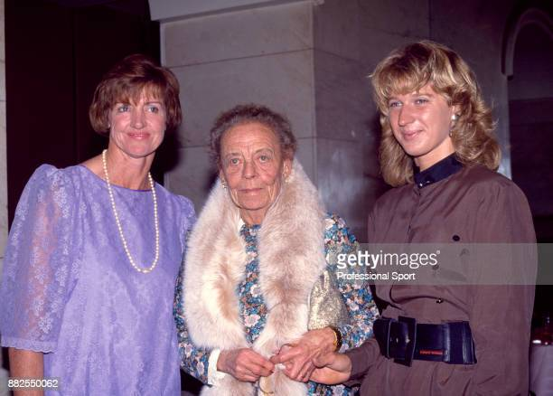 Women's singles champion Steffi Graf of Germany photographed with tennis legends Margaret Court of Australia and Alice Marble of the USA at the...