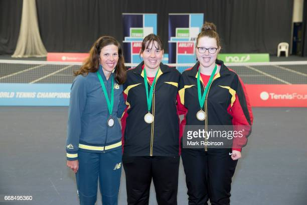Women's singles medal ceremony bronze medal Lies Gielis of Belgium Silver medal Kelly Wren of Australia and Gold medal Hanne Lavreysen of Belgium at...