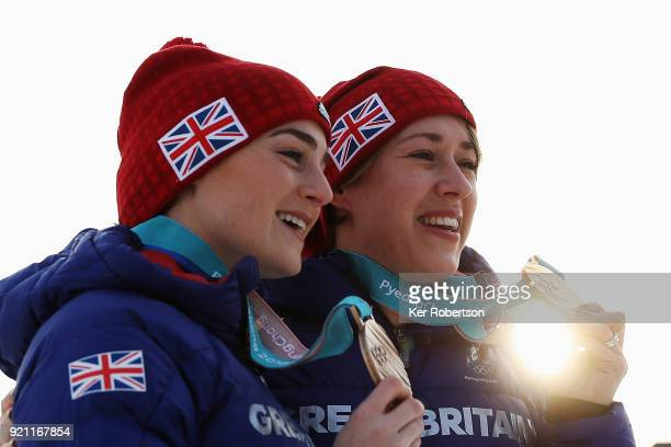Women's Skeleton bronze medalist Laura Deas of Great Britain and Women's Skeleton gold medalist Lizzy Yarnold of Great Britain seen with the medals...
