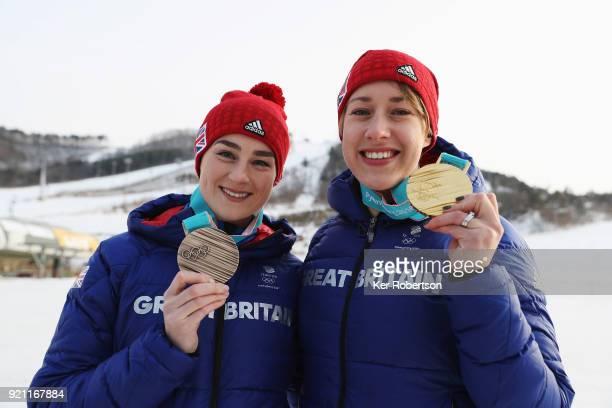 Women's Skeleton bronze medalist Laura Deas of Great Britain and Women's Skeleton gold medalist Lizzy Yarnold of Great Britain seen with the medals...