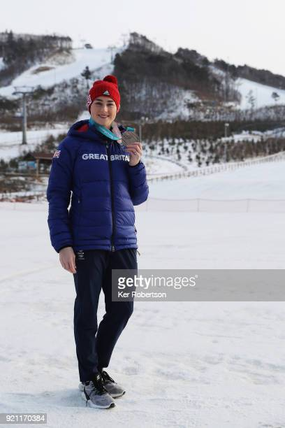 Women's Skeleton bronze medalist Laura Deas of Great Britain seen with the medal she received after competing at the 2018 PyeongChang Winter Olympic...