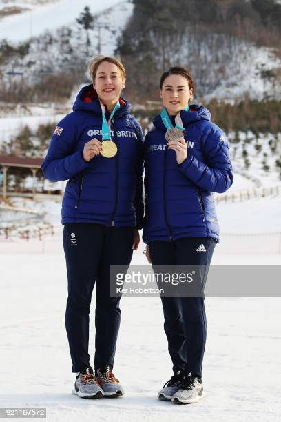 Women's Skeleton gold medalist Lizzy Yarnold of Great Britain and Women's Skeleton bronze medalist Laura Deas of Great Britain seen with the medals...