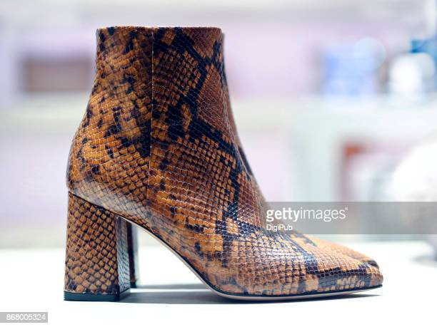 Women's snake leather ankle boots