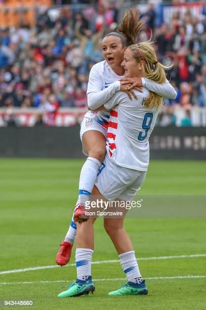 S Women's Soccer forward Mallory Pugh hugs US Women's Soccer midfielder Lindsey Horan after Horan's first half goal during the soccer match between...