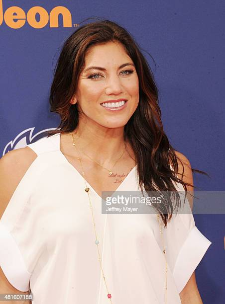 Women's soccer goalkeeper Hope Solo arrives at the Nickelodeon Kids' Choice Sports Awards 2015 at UCLA's Pauley Pavilion on July 16 2015 in Westwood...