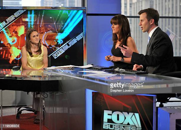 S Women's soccer player Heather O'Reilly talks with hosts Dagen McDowell and Connell McShane on the set of FOX Business at FOX Studios on July 21...