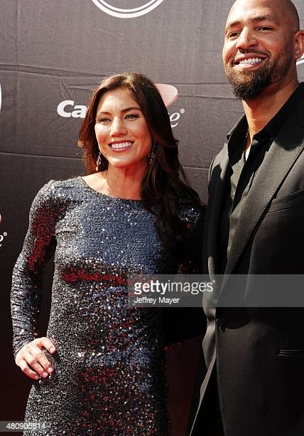 USA women's soccer player Hope Solo and former NFL player Jerramy Stevens arrive at the The 2015 ESPYS at Microsoft Theater on July 15 2015 in Los...
