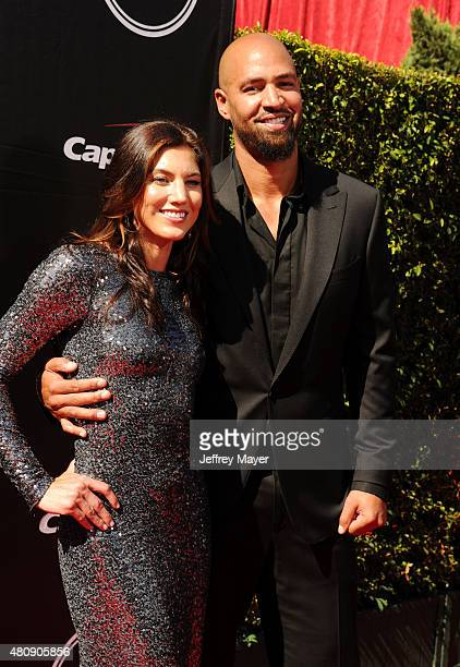 Women's soccer player Hope Solo and former NFL player Jerramy Stevens arrive at the The 2015 ESPYS at Microsoft Theater on July 15, 2015 in Los...