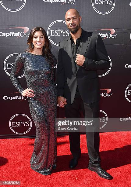 S Women's Soccer player Hope Solo and NFL player Jerramy Stevens attend The 2015 ESPYS at Microsoft Theater on July 15 2015 in Los Angeles California