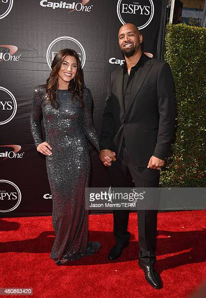 Women's Soccer player Hope Solo and NFL player Jerramy Stevens attend The 2015 ESPYS at Microsoft Theater on July 15, 2015 in Los Angeles, California.