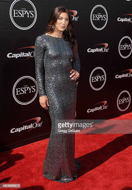 USA women's soccer player Hope Solo arrives at The 2015 ESPYS at Microsoft Theater on July 15 2015 in Los Angeles California