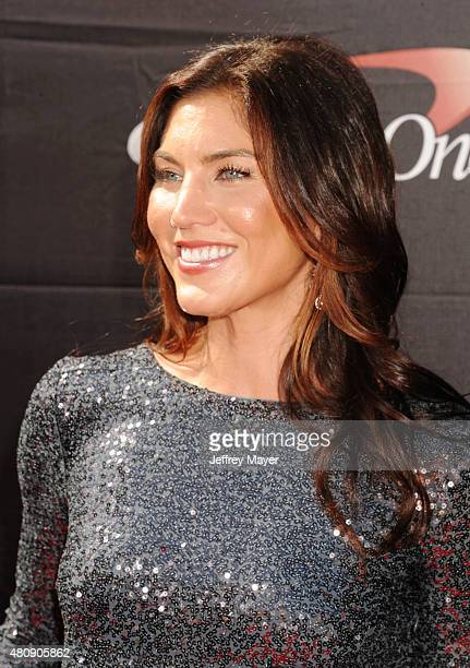 USA women's soccer player Hope Solo arrives at the The 2015 ESPYS at Microsoft Theater on July 15 2015 in Los Angeles California