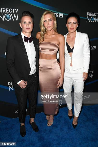 US Women's Soccer players Ashlyn Harris Allie Long and Ali Krieger attend the 2017 DIRECTV NOW Super Saturday Night Concert at Club Nomadic on...