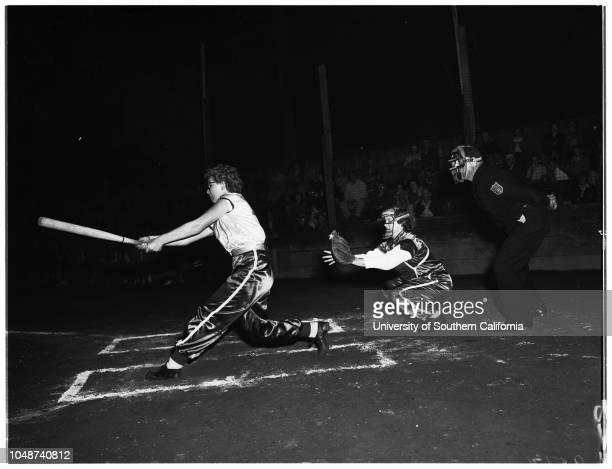 Women's softball game Monterey Park 07 May 1952 Ferdie NullNorma PratherMarsha BuchananBobbie McDanielTony Trabbie UmpireCarolyn Brody Physical...