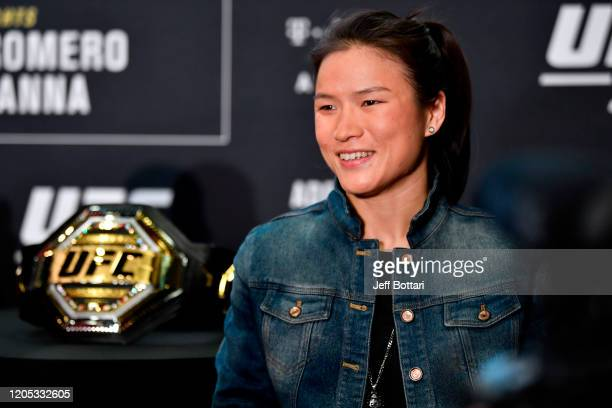UFC women's straw weight champion Zhang Weili of China speaks to the media during the UFC 248 Ultimate Media Day at UFC APEX on March 5 2020 in Las...