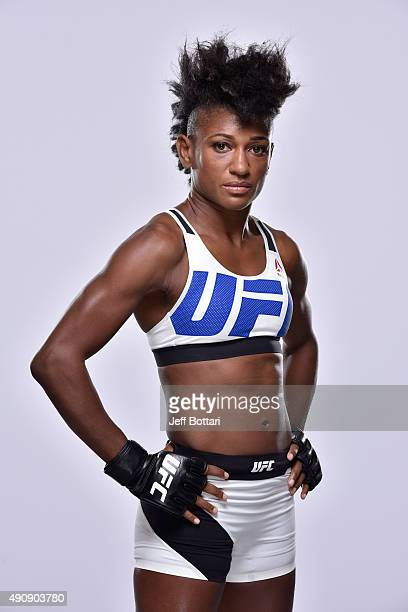 UFC women's strawweight Angela Hill poses for a portrait during a UFC photo session inside the Westin Houston on October 1 2015 in Houston Texas