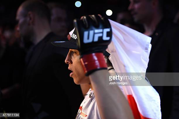 UFC women's strawweight champion Joanna Jedrzejczyk of Poland enters the arena before facing Jessica Penne of the United States in their women's...