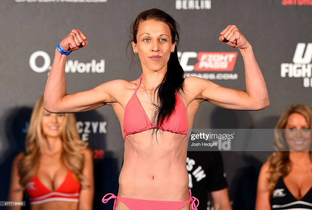 UFC women's strawweight champion Joanna Jedrzejczyk of Poland weighs in during the UFC Berlin weigh-in at the O2 World on June 19, 2015 in Berlin, Germany.