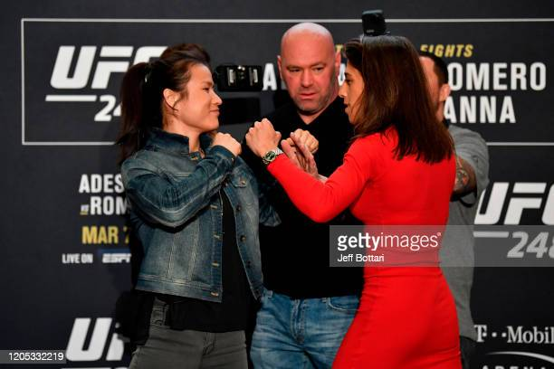 UFC women's strawweight champion Zhang Weili of China and Joanna Jedrzejczyk of Poland face off during the UFC 248 Ultimate Media Day at UFC APEX on...