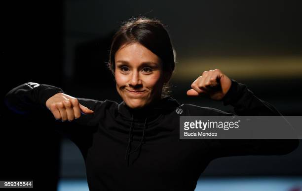 UFC women's strawweight contender Alexa Grasso of Mexico holds an open training session at Mall Sport on May 16 2018 in Santiago Chile