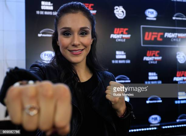 UFC women's strawweight contender Alexa Grasso of Mexico poses for photographers during Ultimate Media Day on May 17 2018 in Santiago Chile