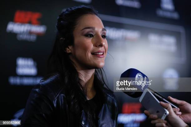 UFC women's strawweight contender Alexa Grasso of Mexico speaks to the media during Ultimate Media Day on May 17 2018 in Santiago Chile